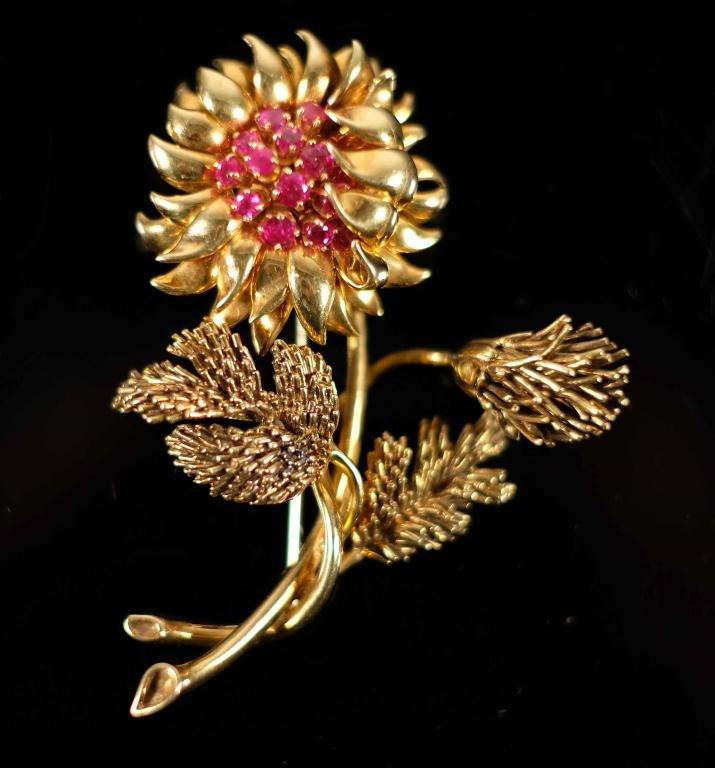 18k YG Tiffany & Co. Ruby Sunflower Brooch