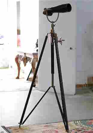 Leather & Brass Mounted Telescope on Tripod Base