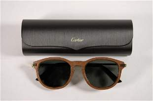 New in Box Cartier Santos Wood Sunglasses