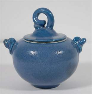 Blue Glazed Handled Pottery Bowl or Jar w/Lid