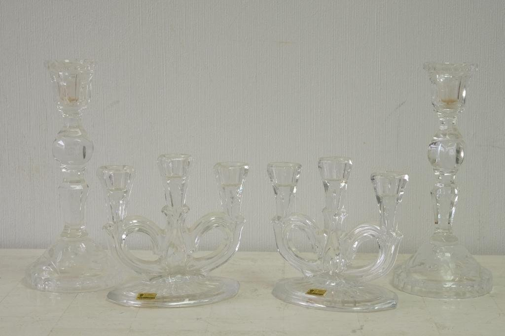Two Pair Continental Crystal Candlestick Holders