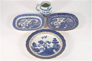 Group, Four Pieces of Blue and White Porcelain