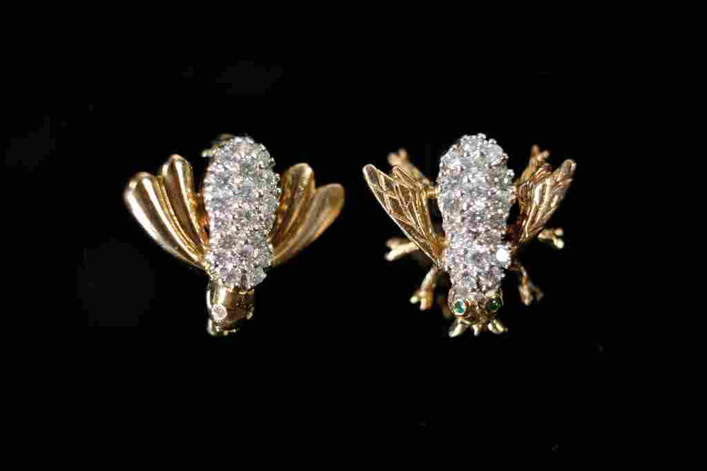 14k YG/ WG Diamond & Emerald Bee Pins