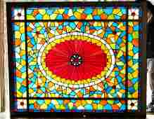 Magnificent Antique Stained Glass Ceiling Panel
