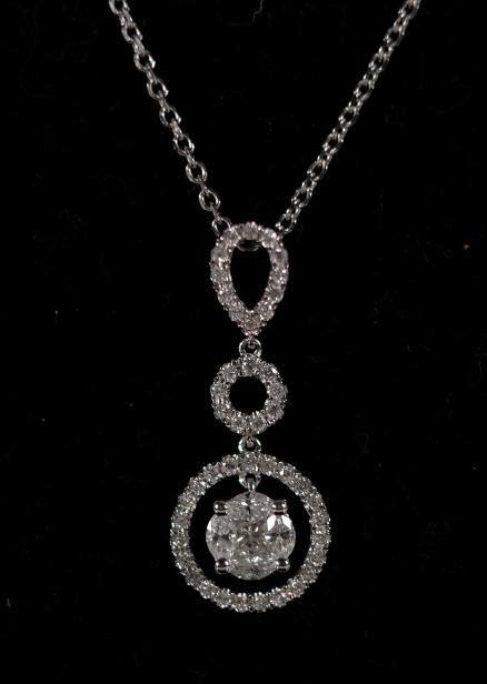 14KWG w/ 18K & Diamond Halo Style Pendant Necklace