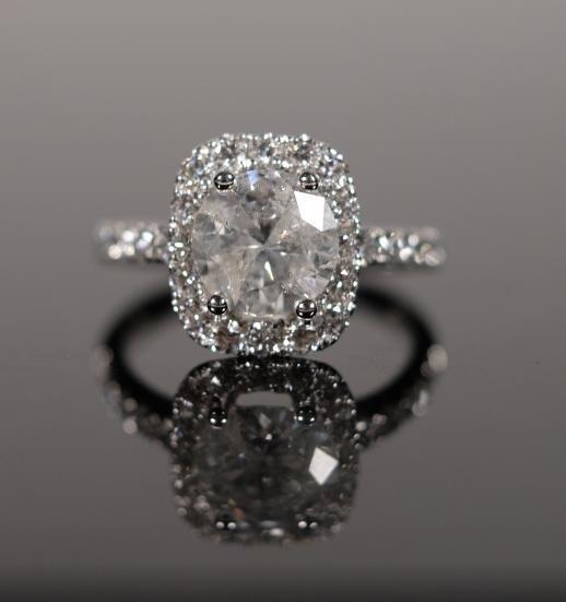 18K White Gold & Diamond Wedding Ring Sz 6.75