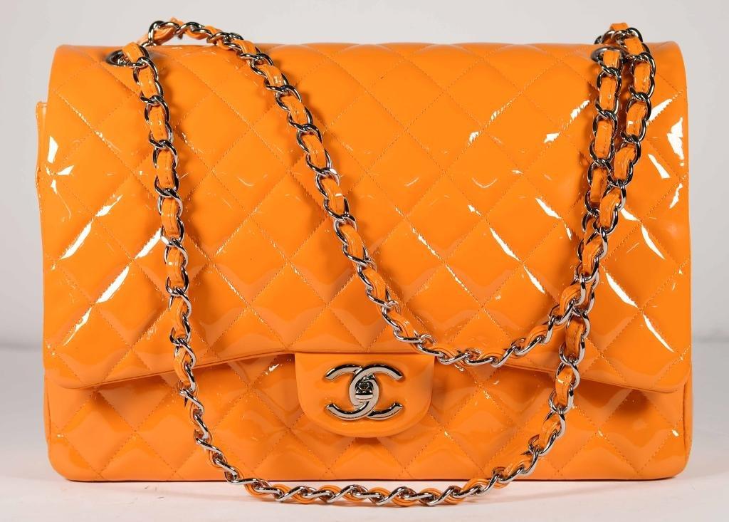 Jumbo Chanel Patent Leather Flap Bag in Orange