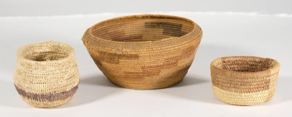 Group, Three Native American Coil Baskets