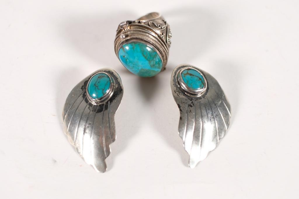 Vintage Navajo 925 & Turquoise Earrings w/Ring