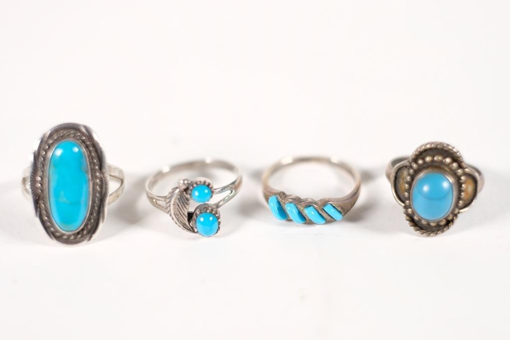 Group, 4 Vintage Navajo 925 & Turquoise Rings