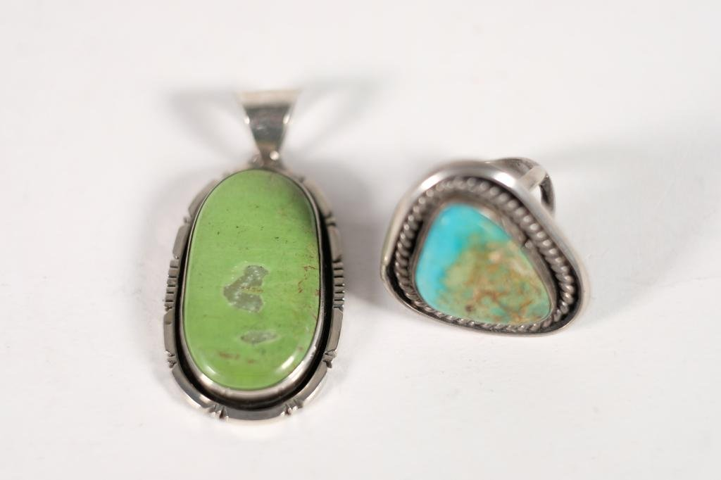 Vintage Navajo Silver Turquoise Pendant w/Ring
