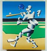 Mark Kostabi 'Slice Pitch' Oil on Canvas 1991