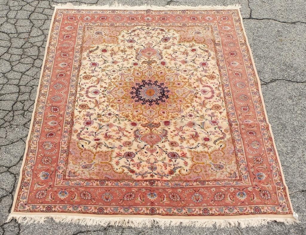 """Persian Floral Silk & Wool Tabriz Rug 6'6"""" x 9'10"""""""