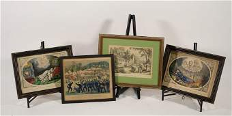 Group 4 Currier  Ives Hand Colored Lithographs
