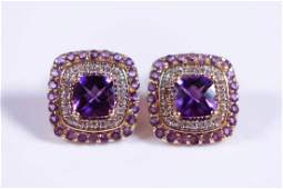 Pair 14K YG Diamond and Amethyst Earrings