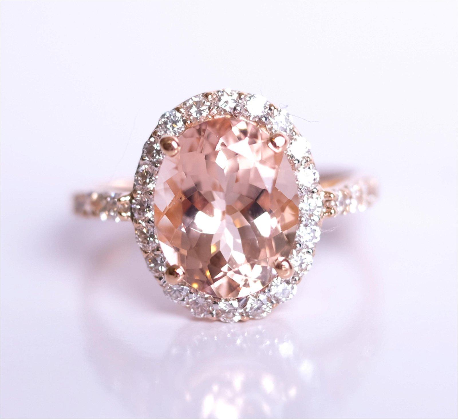 18K Rose Gold Diamond & Morganite Ring