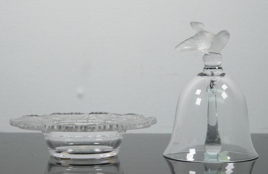 2 Pcs Lalique Crystal Sparrow Bell & Honfleur Bowl