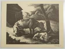 Thomas Hart Benton White Calf Lithograph, Signed