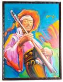 "Attr. Peter Max ""Jimi Hendrix"" Acrylic on Canvas"