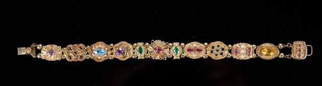 14K YG Multi Stone Charm Slide Bracelet