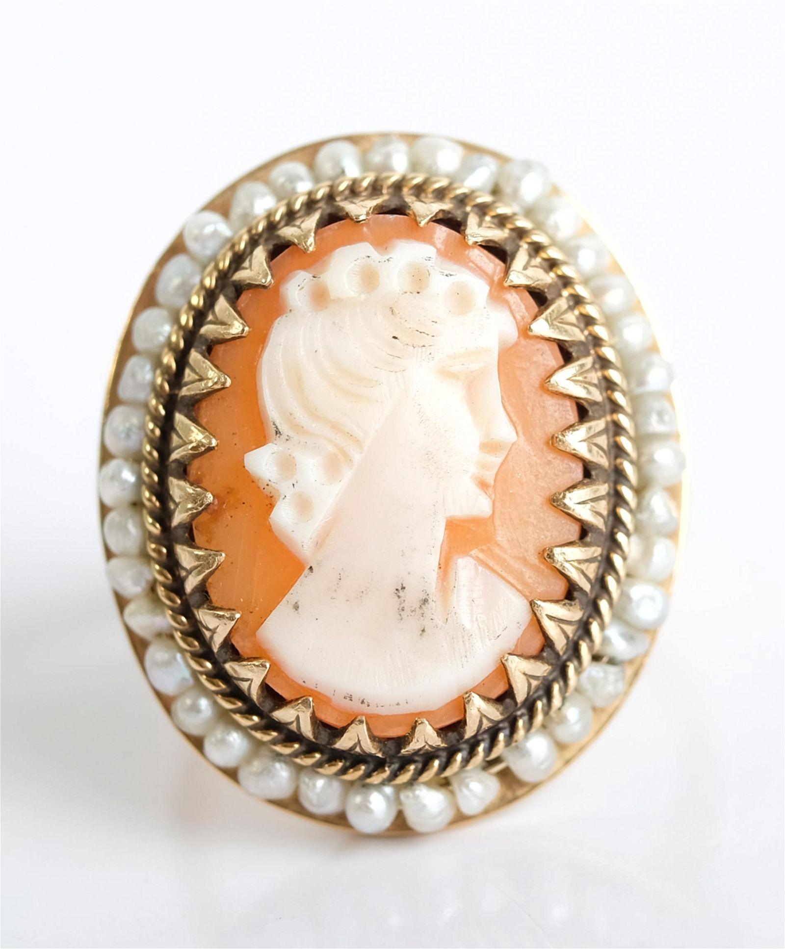 Antique 14K Yellow Gold Pearl & Cameo Ring