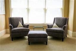 Pair, Contemporary Custom Armchairs w/Ottoman