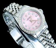 Rolex Pink Faced Diamond Oyster Watch