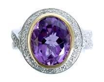 Sterling & 14K YG Amethyst Ring, Size 7 1/2