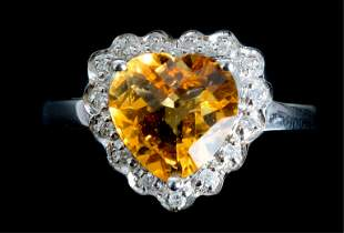 14k WG Heart Shaped Citrine w/Diamonds Ring