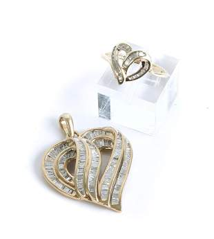 10k YG Diamond Heart Shaped Pendant & Ring