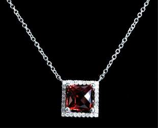 14k White Gold Garnet & Diamond Pendant Necklace