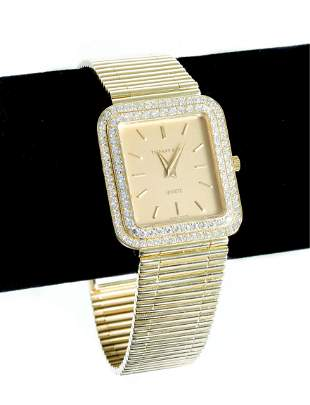Tiffany & Co 18k YG Diamond Ladies Quartz Watch