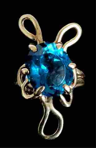 Contemporary 14k YG Blue Topaz Ring