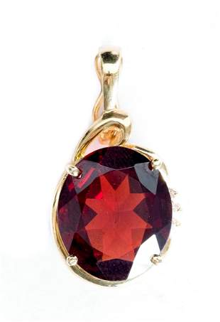 14k Yellow Gold Garnet & Diamond Pendant