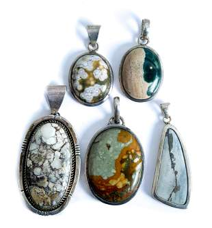 Group, Five Sterling Silver & Stone Pendants