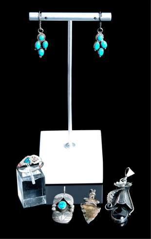 Group, Six Pcs Native American Sterling Jewelry