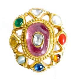 Indian Mughal Style 18K YG Diamond Gem Ring