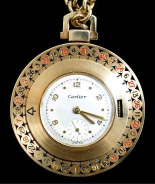Mid Century Cartier Gold Roulette Pocket watch