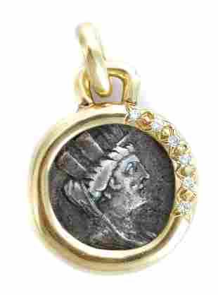 Ancient Greek Silver Tetradrachm w/Gold & Diamonds