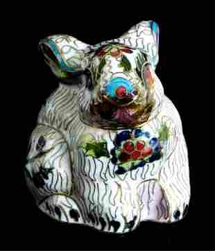 Chinese Porcelain Cloisonne Inlaid Rabbit