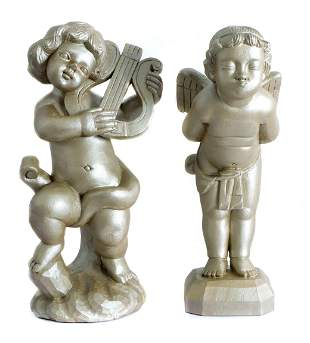 Two Giltwood Carved Figural Putti