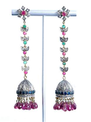 Pair, Mughal Style Gold Silver Gemstone Earrings