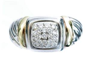 David Yurman 18k YG & 925 Cable Diamond Ring