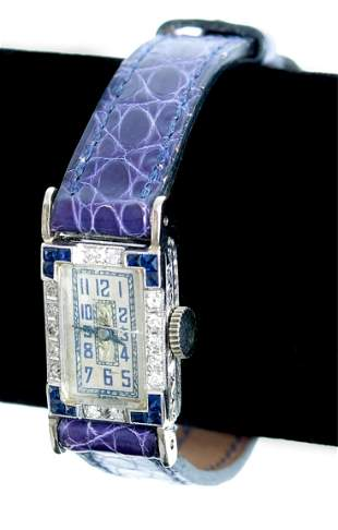 Art Deco Sapphire & Diamond Watch