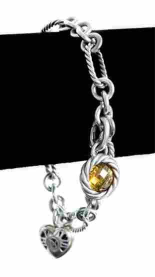 David Yurman 18K 925 Cable Link Charm Bracelet