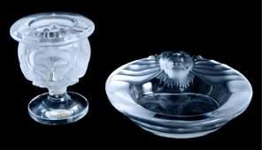 Lalique Crystal Tete de Lion Ashtray w/Holder