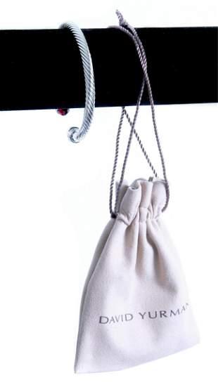 David Yurman 14k 925 Garnet Cable Cuff Bracelet