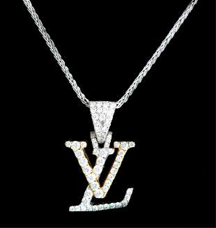 14k YG WG Diamond Louis Vuitton Pendant Necklace