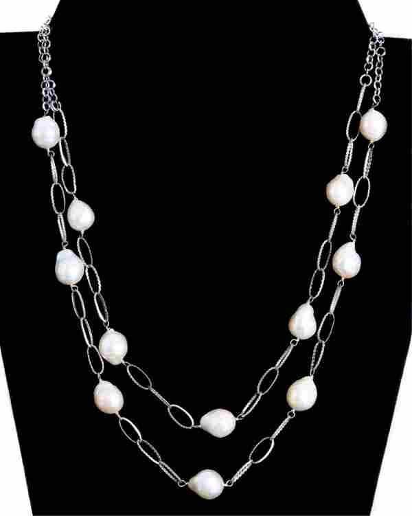 Sterling Double Strand Baroque Pearl Necklace
