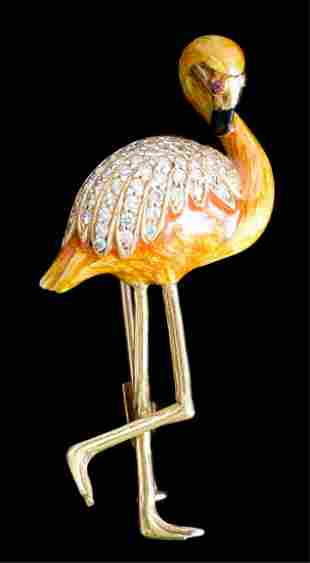 18k YG Enamel & Diamond Flamingo Brooch Pin